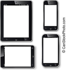 Mobile phones and tablets with blank screen realistic vector...