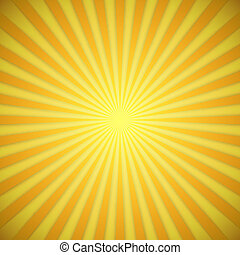 Sunburst bright yellow and orange vector background with shadow effect.