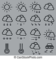 Summer and winter weather forecast icons set - Summer and...