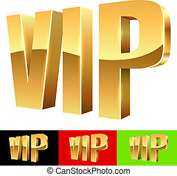 Golden VIP abbreviation isolated on white with color...