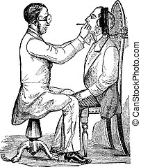 Laryngoscopy, vintage engraving - Laryngoscopy, showing a...