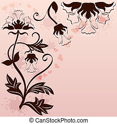 Abstract background with corner floral ornament.