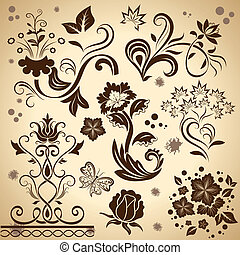 Floral vintage vector design elements isolated on yellow...