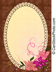 Vector photo frame with pink flower ornament.