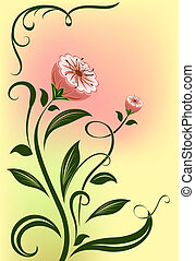 Abstract vector flower isolated on color background.