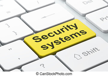 Safety concept: computer keyboard with word Security Systems, selected focus on enter button background, 3d render