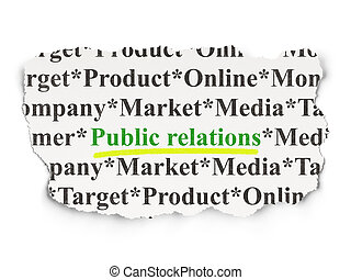 Advertising concept: Public Relations on Paper background