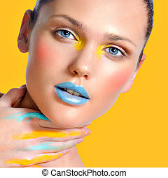 Make-up cosmetics Closeup portrait of beautiful woman -...
