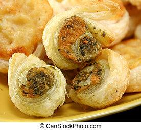 Savory Pastries - Baked pesto and parmesan savory pastries...