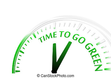Time to go green clock abstract green vector illustration