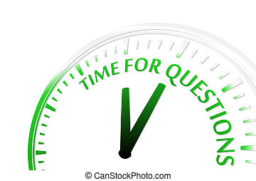 Time for questions clock abstract green vector illustration