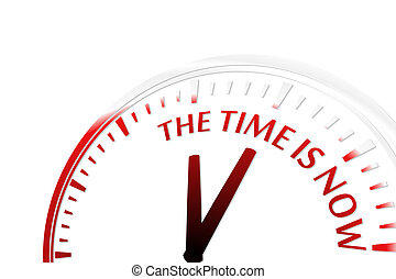 The time is now clock abstract red vector illustration