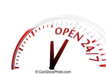 Open 24/7 - Open 247 clock abstract red vector illustration...