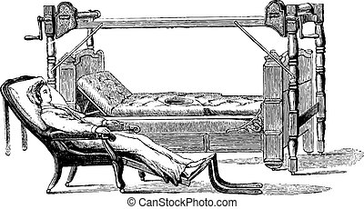 Dupont device to exit the patient out of the bed and sit in a chiar, vintage engraved illustration. Usual Medicine Dictionary - Paul Labarthe - 1885.