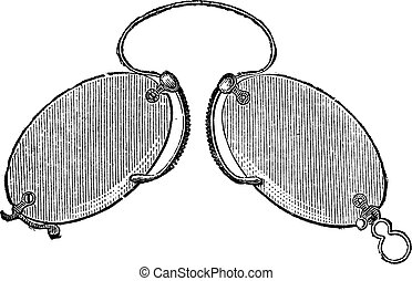 Glasses - a nose clip claws, vintage engraving.