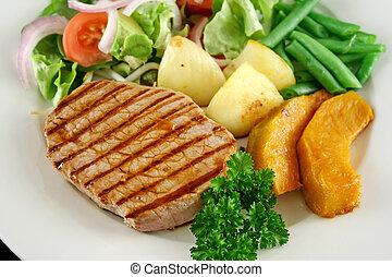 Steak And Vegetables 5 - Hearty dinner of steak, vegetables...