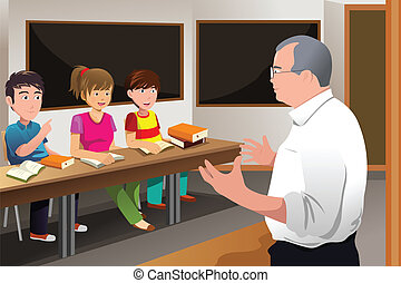 Teacher teaching college student - A vector illustration of...