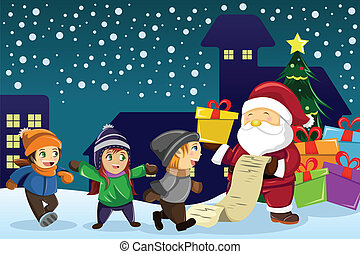 Santa Claus carrying present and holding a name list with...