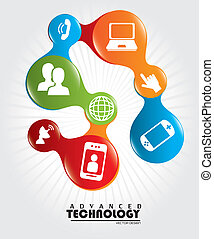 advanced technology over white background vector...