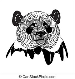 Bear panda head animal symbol for mascot or emblem design,...