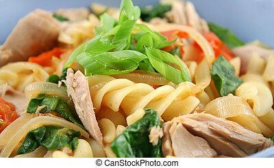 Tuna Pasta Close Up - Delicious tuna spinach and tomato...