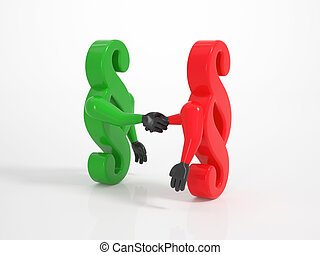 Two paragraph icons shaking hands - symbol for settlement