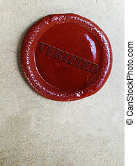 verified wax stamp - wax stamp with Verified text, on old...