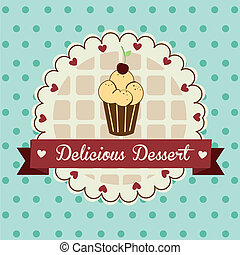 dessert delicious over dotted background vector illustration...