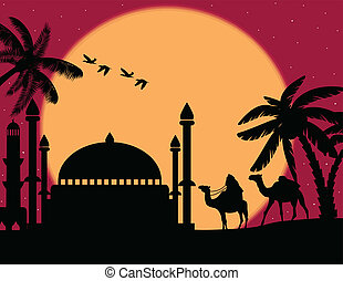 Bedouin with camels and mosque at night
