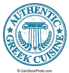 Authentic Greek Cuisine stamp - Blue grunge rubber stamp...