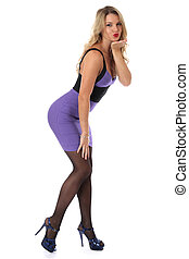Model Released. Sexy Young Woman Wearing Tight Purple Short...