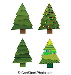Christmas trees - christmas trees over white background...