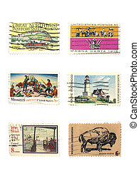 Stamps: US vintage stamps, isolated white