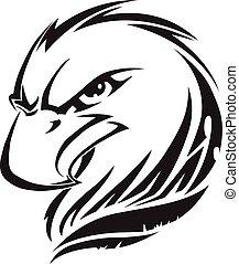 Eagle head tattoo, vintage engraving.