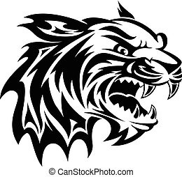 Tiger head tattoo, vintage engraving - Roaring tiger head...