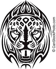Lion head tattoo, vintage engraving.