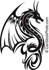 Flying dragon tattoo, vintage engraving - Flying dragon...