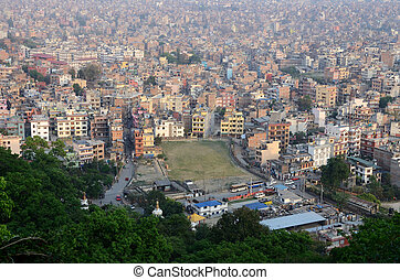 View of nepalese capital Kathmandu from Monkey temple...