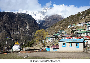Mountains around capital of sherpas - Namche Bazar, Nepal,...