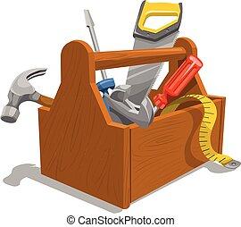 vector, de madera, caja de herramientas, herramientas
