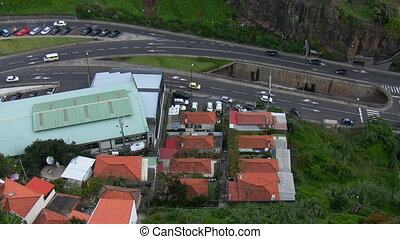 Bird eye view of busy highway - Aerial view of a busy...
