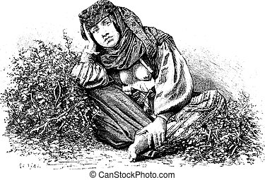Woman from Beitin in West Bank, Israel, vintage engraving