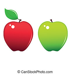 Apples icons - Two stylized apples icons, red and green