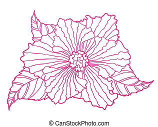 Stylized Flower head - Stylized bright pink flower head with...