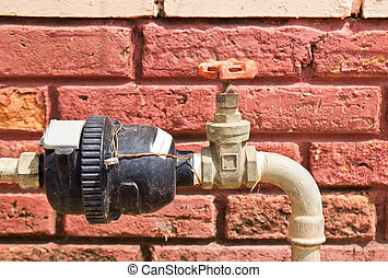 Old water valve with water meter