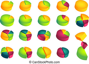 Set of 3D pie diagrams - Set of isolated 3D pie diagrams