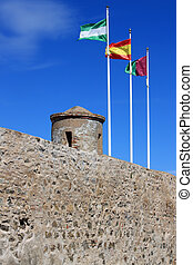 Eighth century fortress, Castillo de Gibralfaro - Flags...