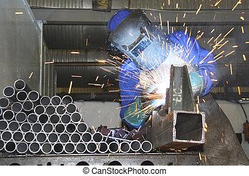artesano, soldadura, tubos, producción, línea