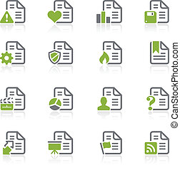 Documents Icons - 2 - Natura Series - Green vector icon set...