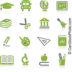 Education Icons -- Natura Series - Green vector icon set for...
